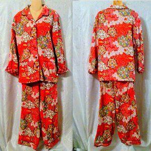 Nick & Nora Asian Theme Cotton Flannel Pajamas